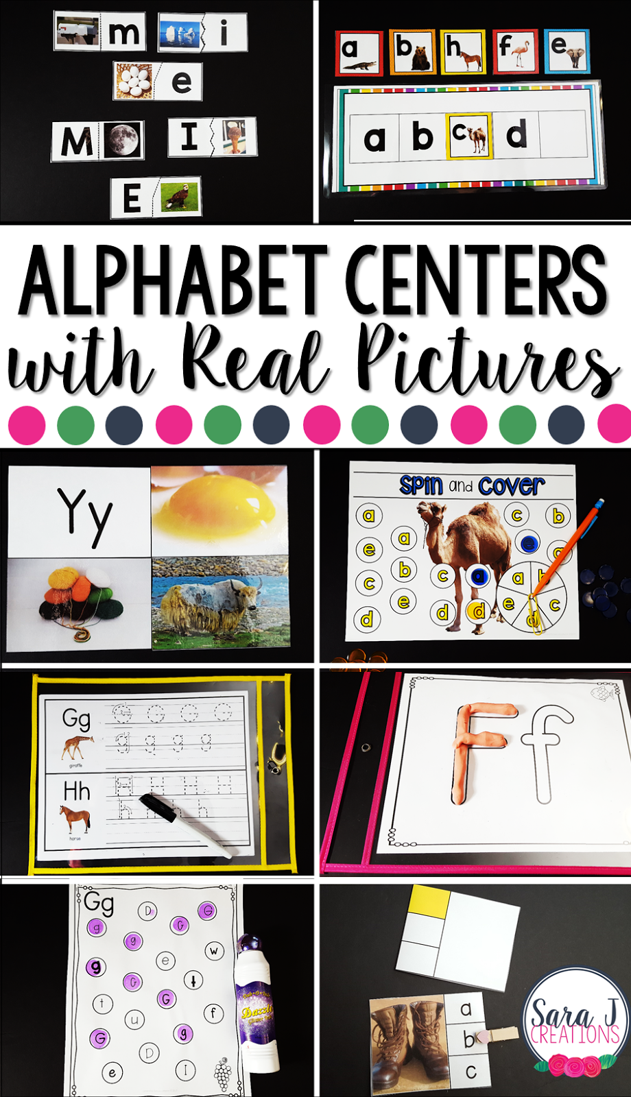 Alphabet centers with real pictures make the perfect printable practice for preschool and kindergarten. #alphabet #sarajcreations #abc #printables #centers