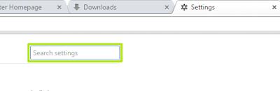 Kotak pencarian pengaturan pada Chrome
