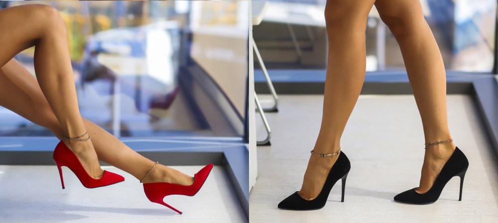 Pantofi de ocazie rosii, negri cu toc inalt ieftini online