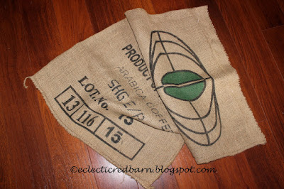 Eclectic Red Barn: coffee grain sack for sign