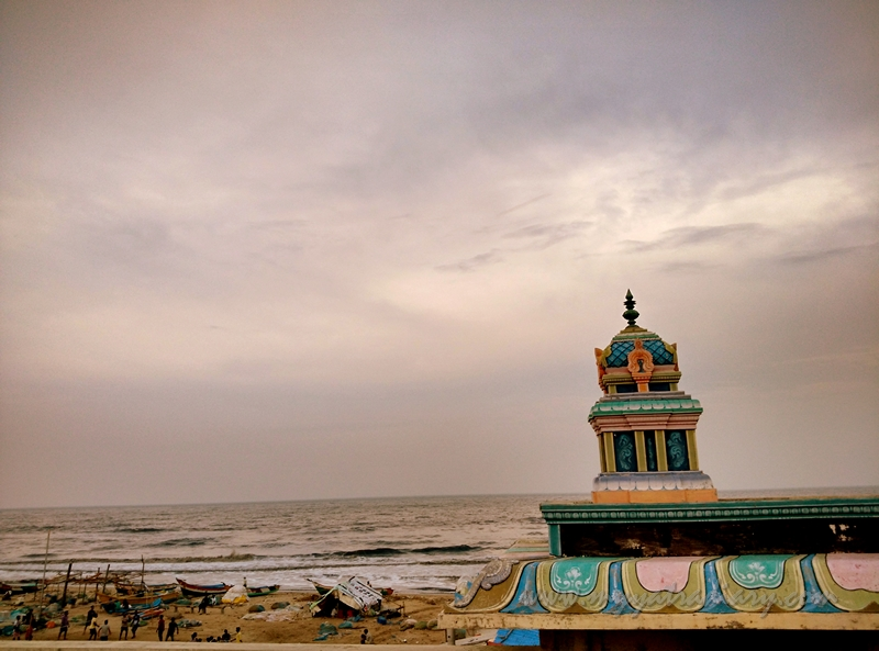 View of Elliot Beach from the terrace of Ashtalaksmi Kovil Temple in Chennai