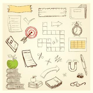 学習に因んだ手描きのクリップアート pencil drawing education symbol sketch イラスト素材