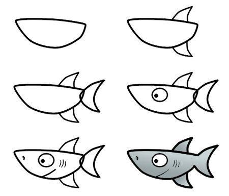 Cara Mudah Menggambar Ikan Hiu Untuk Anak-Anak