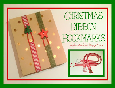 Christmas ribbon bookmarks, holiday gifts