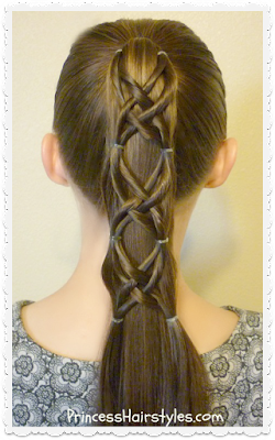 Quick and easy ponytail hairstyle. Criss cross woven twists.