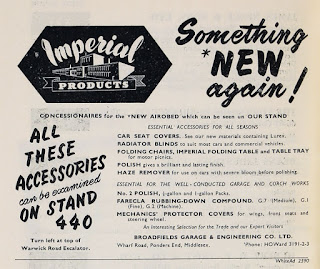 Broadfields Imperial Accessories advert for the 1956 Motor Show