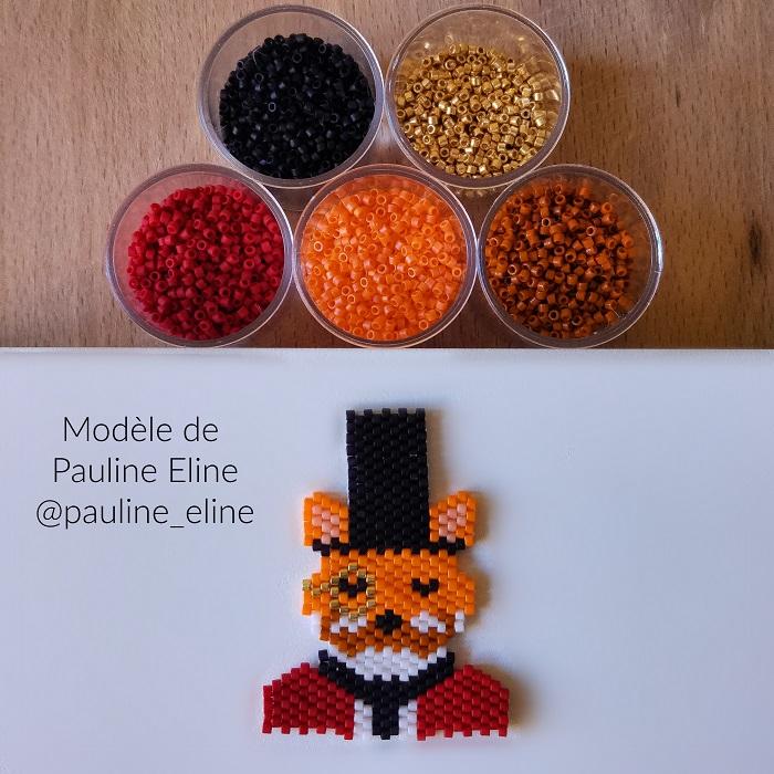 renard costume pauline eline, tissage brickstitch, perles delicas miyuki, hellocestmarine