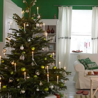 decorar navidad verde blanco
