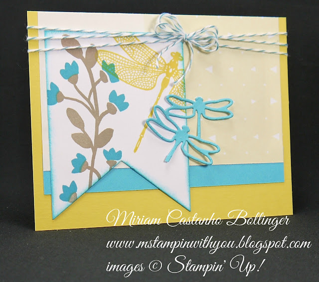 Miriam Castanho-Bollinger, #mstampinwithyou, stampin up, demonstrator, mm, all occasions card, bountiful border, dragonfly dreams stamp set, big shot, detailed dragonfly thinlits, banner framelit, su