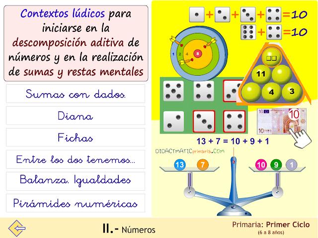 Contextos lúdicos para la descomposición aditiva e iniciación en suma y resta mental