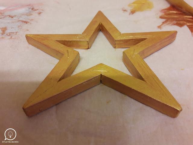 Karácsonyi csillag dekoráció fából