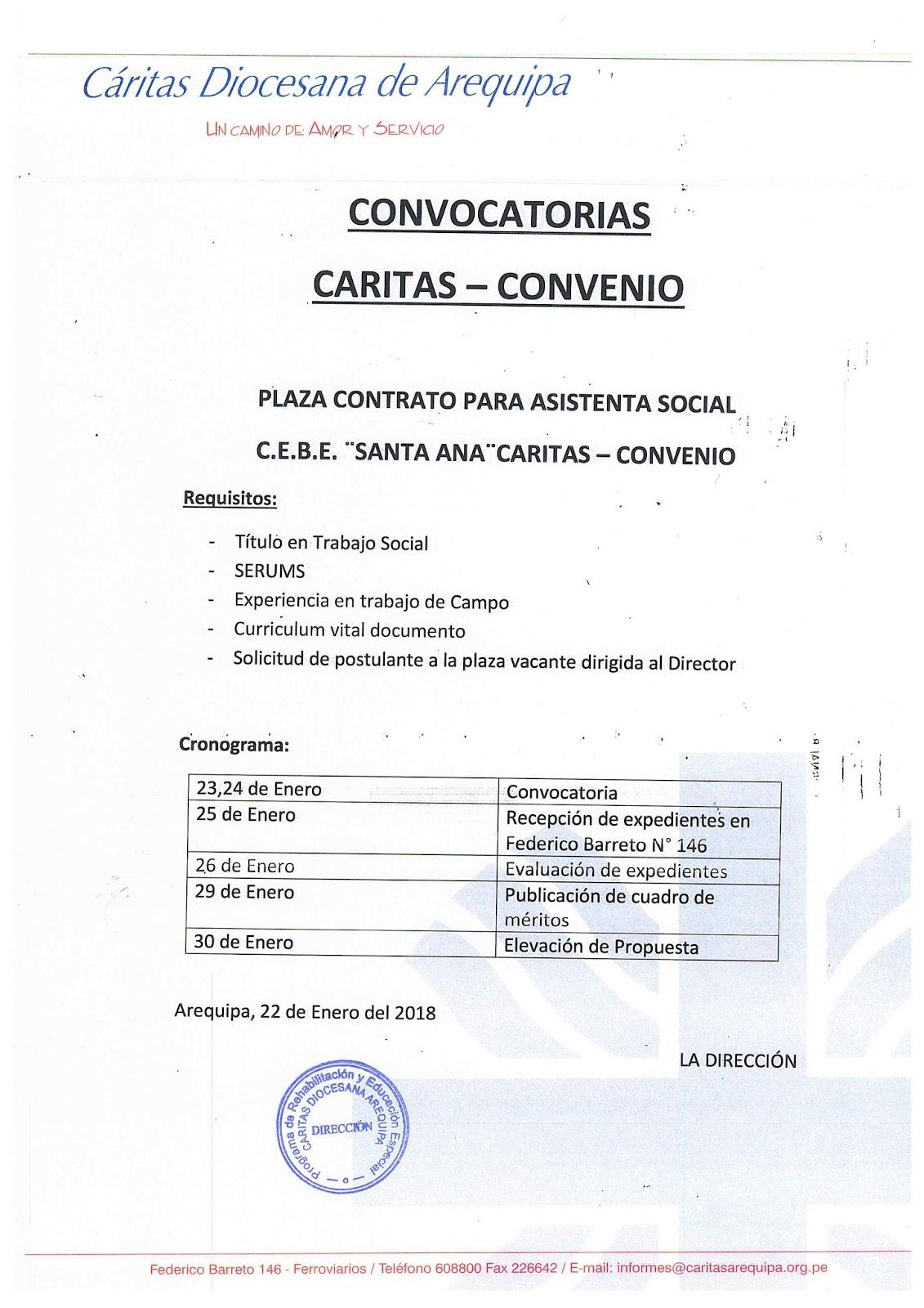 Convocatorias c ritas convenio 2018 noticias m s for Convocatoria para plazas docentes