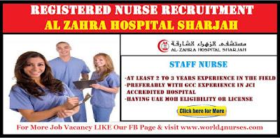 REGISTERED NURSE Al Zahra Hospital Sharjah