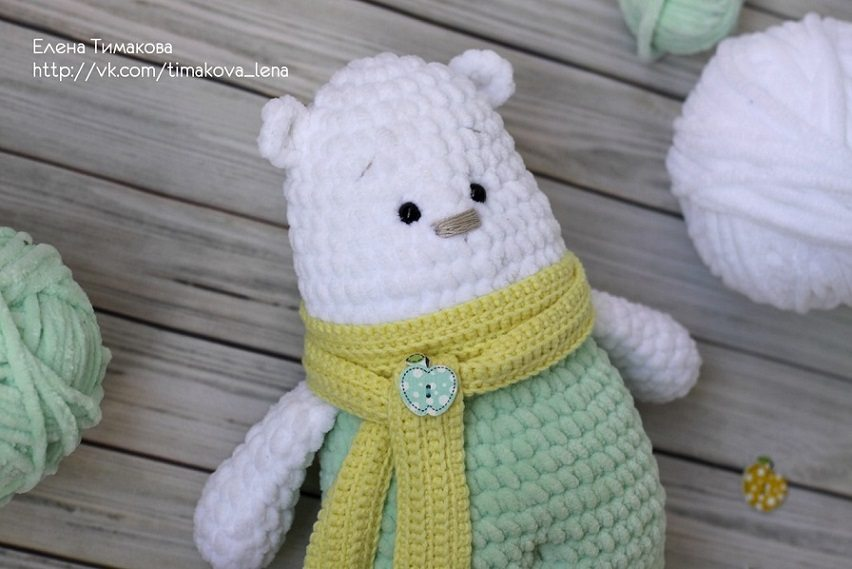 Вязаная игрушка амигуруми полярный мишка