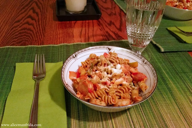 pasta, sausage, vegetables, veggie sauce, water, supper, dinner, bowl, tasty tuesday, what i ate