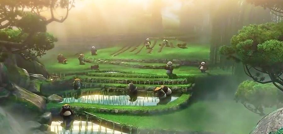 Un sat liniştit plin de urşi panda în Kung Fu Panda 3