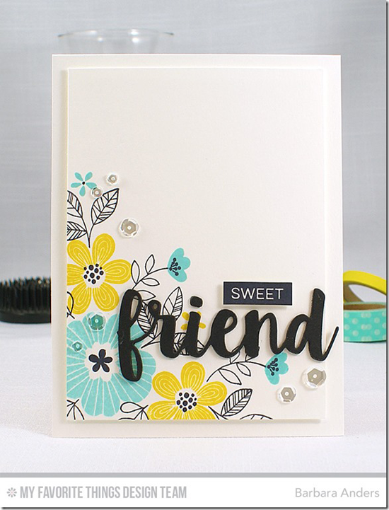 Handmade card from Barbara Anders featuring Bold Blooms and Label Maker Sentiments stamp sets and Friends Die-namics #mftstamps