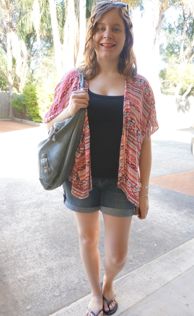 Away From Blue | Postpartum Style: kimono, breastfeeding singlet, denim shorts, Bal day bag