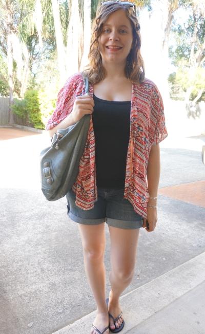 Away From Blue | Postpartum Style: kimono, breastfeeding singlet, denim shorts, Bal day bag