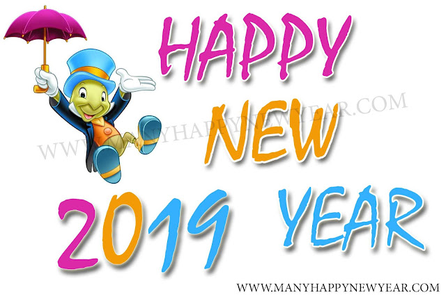 New Year 2019 with cartoons poster