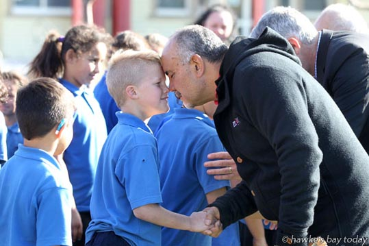 L-R: Benjamin Clifton, Te Ururoa Flavell - visit to Raureka School, Hastings, and their community hub, community toolbox, community playground and community gardens, by Te Ururoa Flavell, co-leader, Maori Party, MP for Waiariki, Minister for Maori Development, Minister for Whanau Ora, Associate Minister for Economic Development. photograph