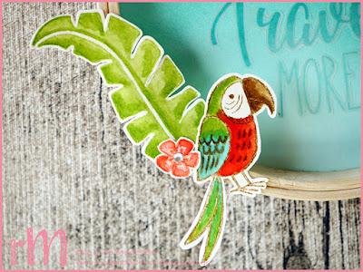 Stampin' Up! rosa Mädchen Kulmbach: Stamp Impressions Blog Hop: Color Combo - karibischer Dekostickrahmen mit Grußgezwitscher und Pop of Paradise im Aquarell- und Ombrelook