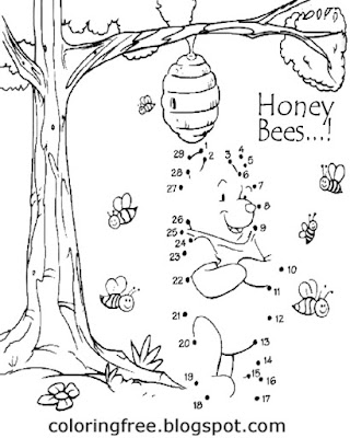 Honey bee Dot to dot printable join up the dots coloring activities for childrens basic art learning
