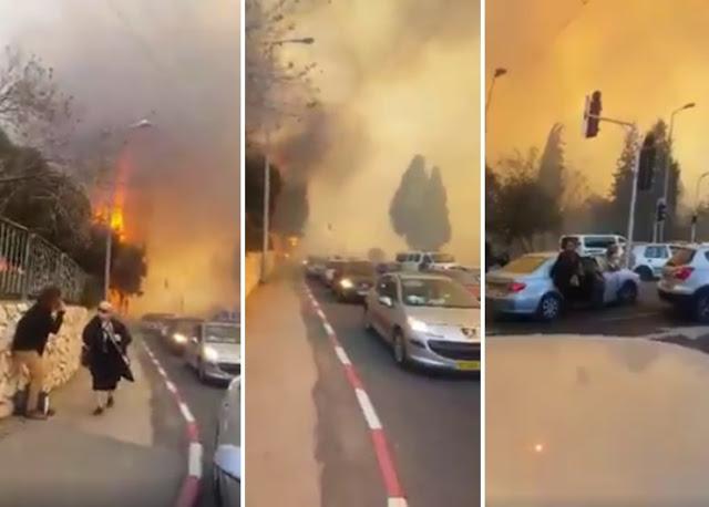 [Video] Kepanikan Warga Israel Saat Dikejar Api