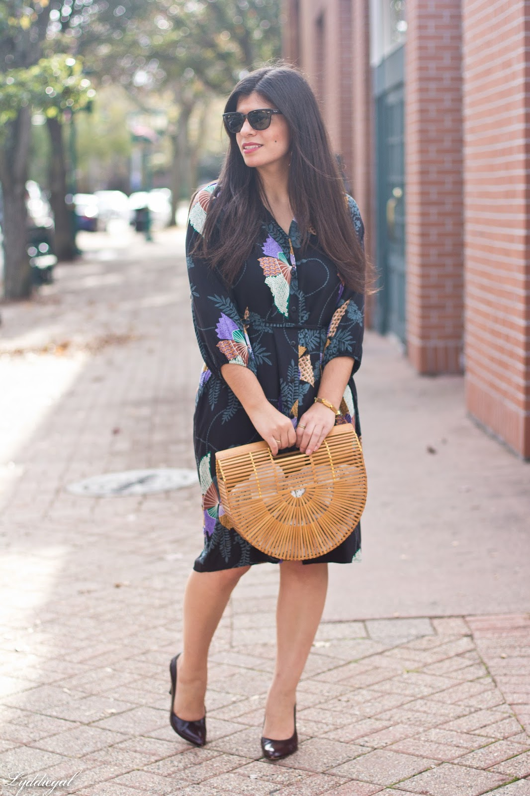CT Fashion blogger styling a secondhand Tucker silk dress, coach heels, and bamboo bag