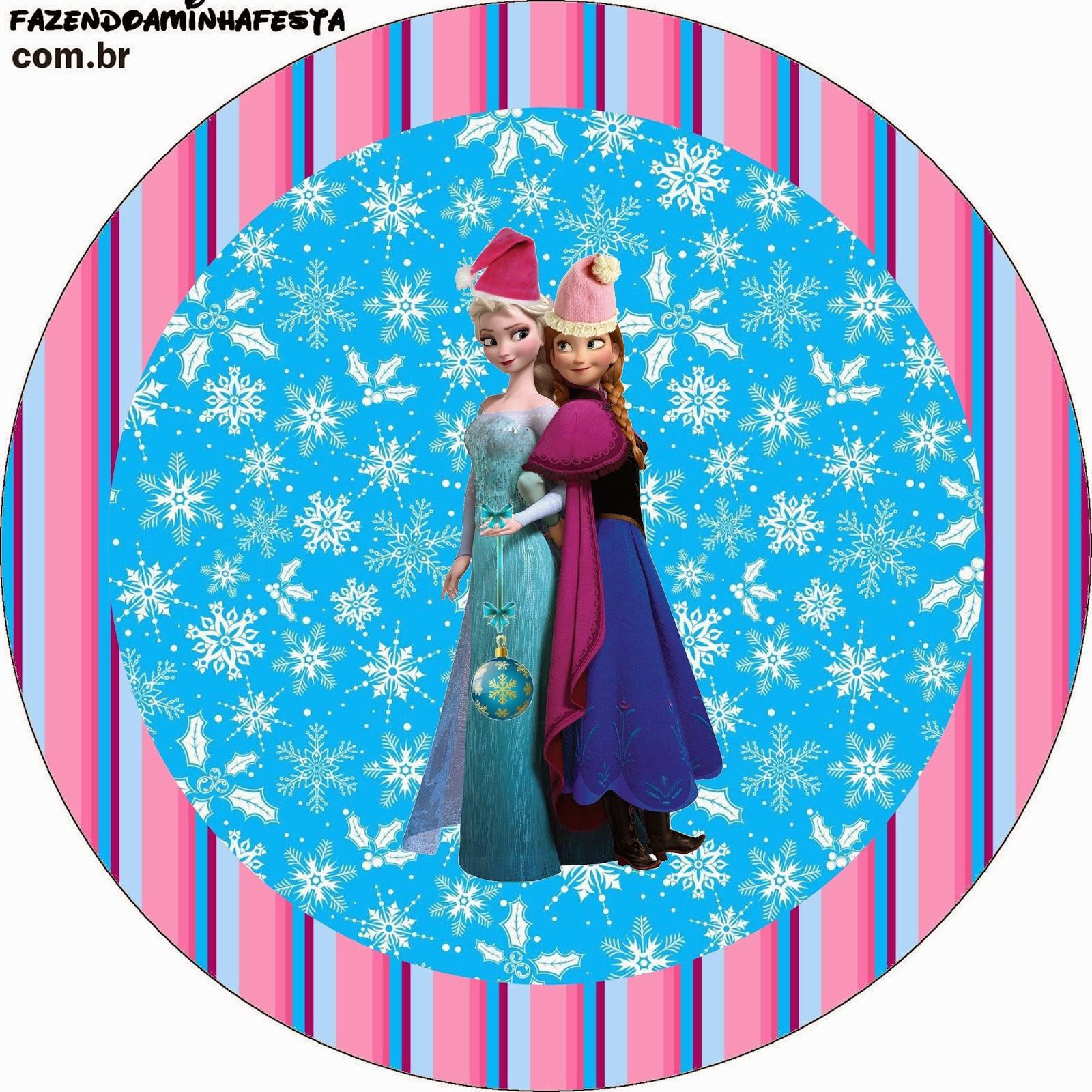 Toppers o etiquetas de Frozen para Navidad para imprimir gratis.