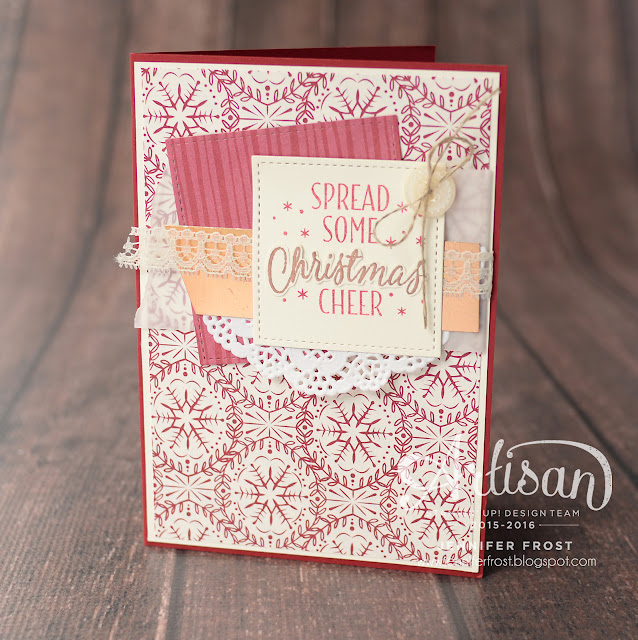 Stitched Shapes Framelits, Merry Mice, This Christmas Specialty Designer Series Paper, Christmas card, Stampin' Up!, Papercraft by Jennifer Frost