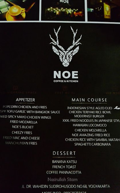 Daftar Menu di Noe Coffee & Kitchen Jogja