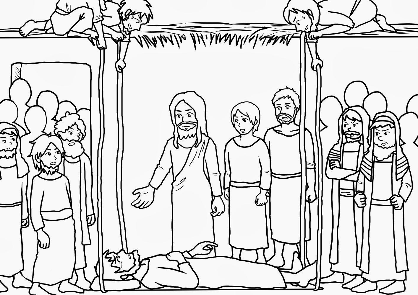 Me aburre la religi n jes s sana a un paral tico for Jesus heals the sick coloring page