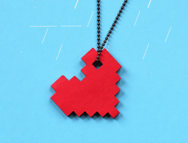 Diy pixel heart necklace how about orange for How to make paper stuff