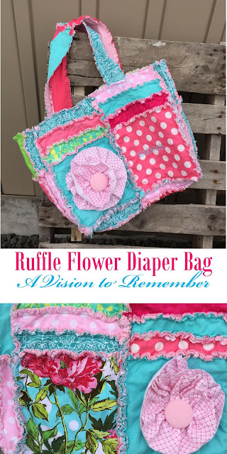 Ruffle Flower Diaper Bag by A Vision to Remember