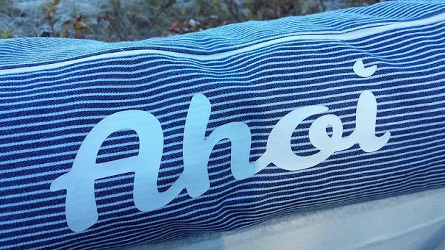 Strandmuscheltasche maritim mit Plott in blau-weiß