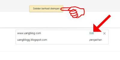 Domain .com Berhasil Disimpan