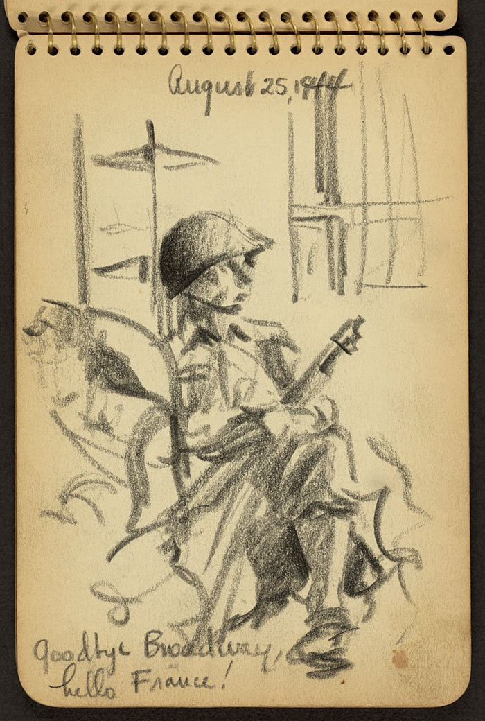 21-Year-Old WWII Soldier's Sketchbooks Show War Through The Eyes Of An Architect - Goodbye Broadway, Hello France! Soldier Sitting On A Boat In New York Harbor