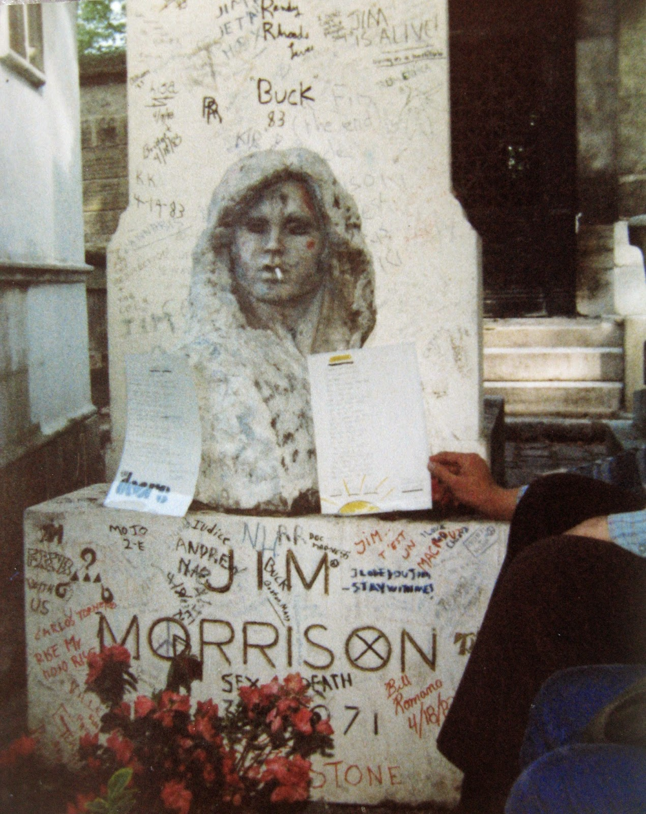 Jim Morrison grave site Pere-Lachaise Cemetery May 4, 1983