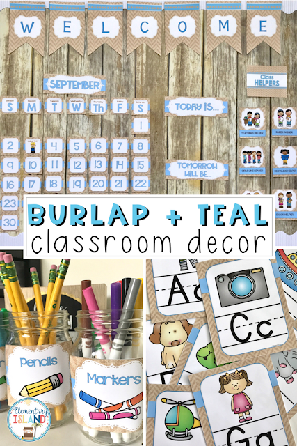 "Get ready for back to school with a shabby chic design that is in style! This burlap classroom decor is sure to be a hit with children and teachers. The theme gives a ""homey"" feel when the decorations are added to your classroom. From calendar to jobs, this is a great cohesive set for a farmhouse or burlap theme! #backtoschool #classroomdecor #classroomtheme #burlaptheme #burlapandteal #classtheme"