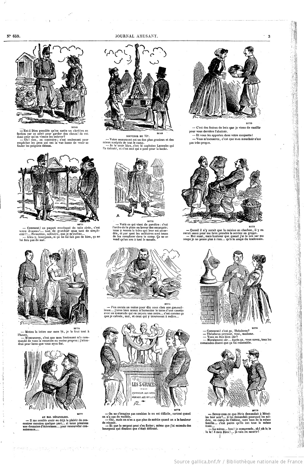 ...at cartoons from the 1860s and found a small cartoon in a series of camp  life at the training camp at Chalons in 1868. Click to enlarge