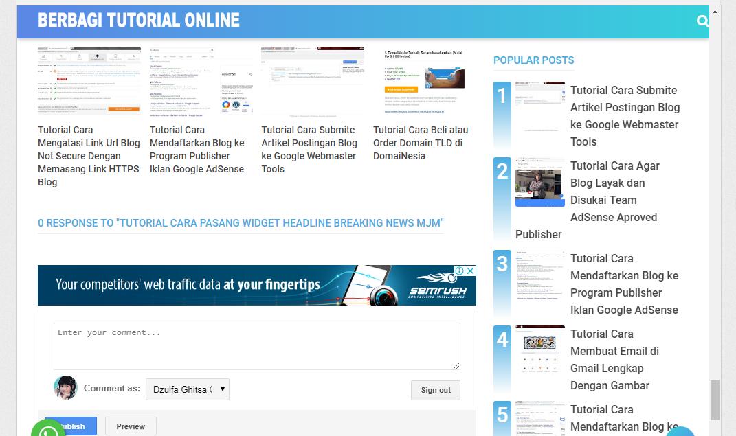 Iklan AdSense di  Atas Kolom Komentar Blog