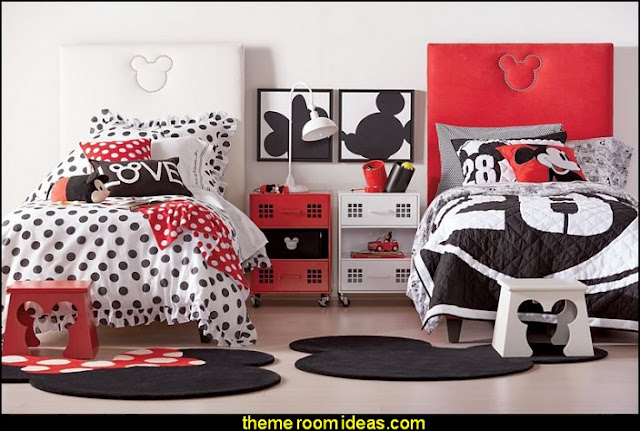Disney Mickey Mouse  shared bedrooms ideas - decorating shared bedrooms - siblings sharing bedroom - Shared spaces - boy and girl shared room - Shared Kids Room decorating - Room dividers - shared bedroom spaces - curtains - Room Divider Curtains