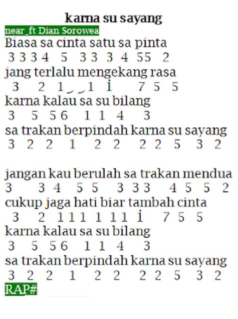Not Angka Lagu Karna Su Sayang Near ft Dian Sorowea