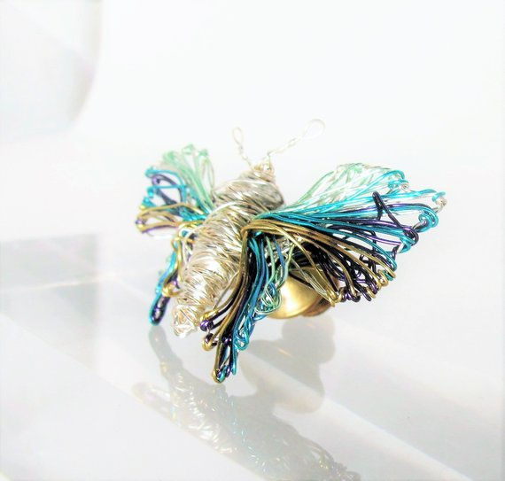 Silver butterfly brooch, modern jewellery design art