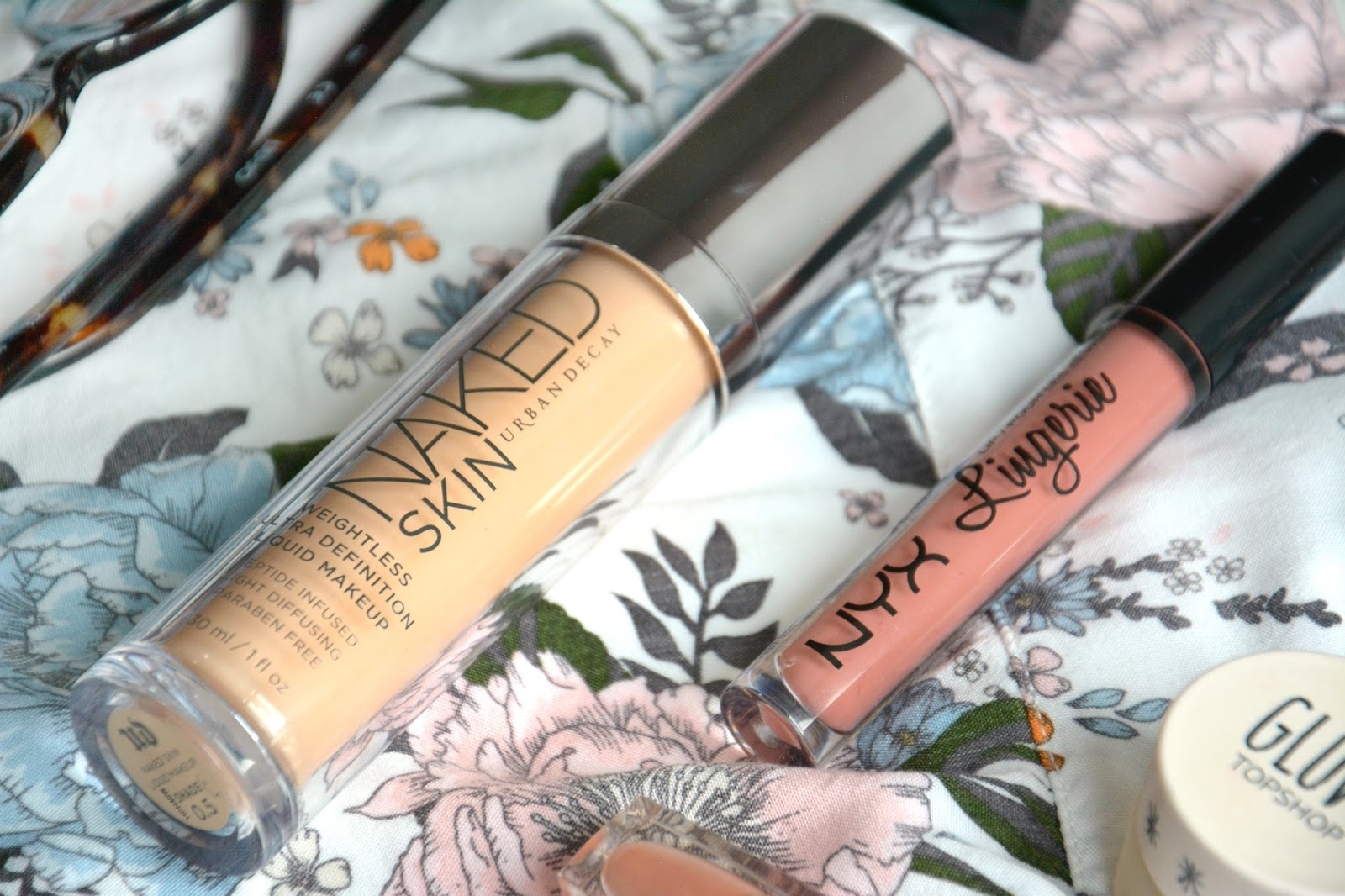 Urban Decay Naked Skin Foundation, NYX Lip Lingerie, H&M Blouse