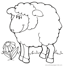 Adorable Sheep On Garden Flower Coloring Pages