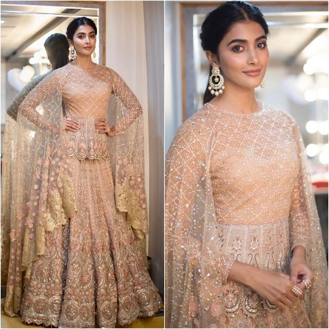 Pooja Hegde in Tarun Tahiliani Gown at Zee Golden Awards 2017
