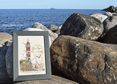 Вышивка крестом маяк Le phare aux mouettes по схеме Soizic