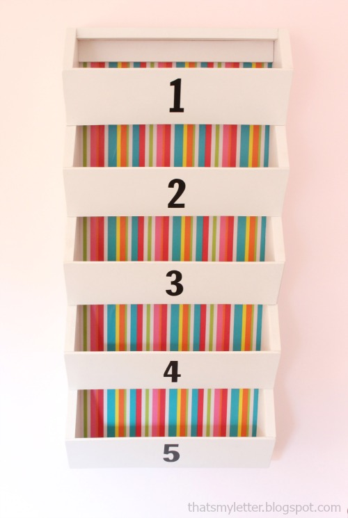 wall bins with striped background